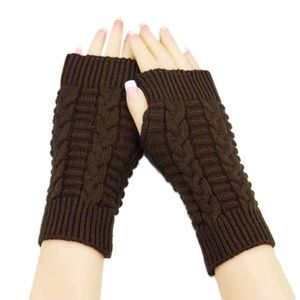 Accessories - Brown Fingerless Knit Gloves Unisex
